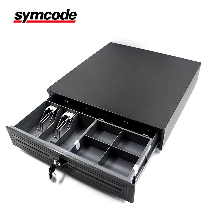 Black Stainless Steel Cash Register Drawer 8 Coin Slot Single Cheque Mouth